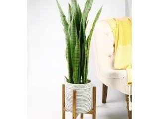 UPshining Mid Century Ceramic Planter 8  Gray with Wood Stand  Retail 78 48