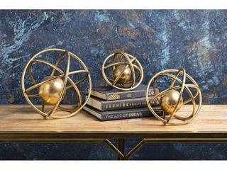 Galaxy Gold Metallic Decorative Balls  Set of 3