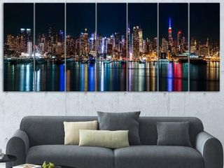 Designart  New York Midtown Night Panorama  Extra large Cityscape Glossy Metal Wall Art ONE PANEl DAMAGED  SEE PICTURES