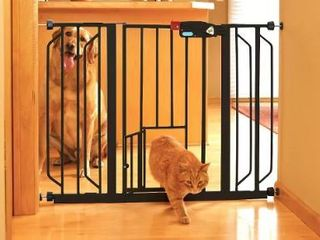 Extra Wide Black Walk Through Gate With Small Pet Door  Fits openings 29 51  wide  30  High