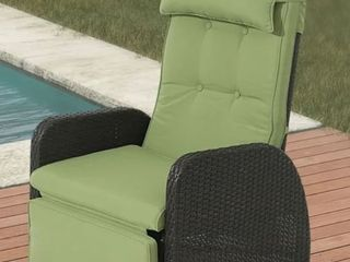 Outdoor Wicker Recliner with Green Cushion  Retail 379 49