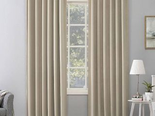 Sun Zero Amherst Velvet Noise Reducing Thermal Extreme Total Blackout Back Tab  2  Curtain Panels  50  x 96