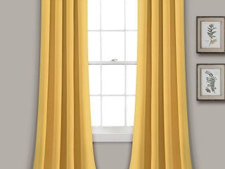 lush Decor Insulated Grommet Blackout Curtain Panel Pair  84 inches  Yellow