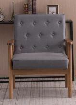 Retro Modern Wooden Single Accent Chair  Grey Fabric Cushion  Retail 133 49