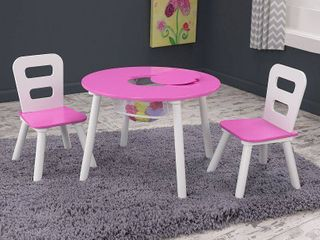 KidKraft Round Table and 2 Chair Set  White Pink