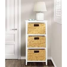 Mdesign Wood Three Drawer Side Table And Basket Storage Unit   White bamboo