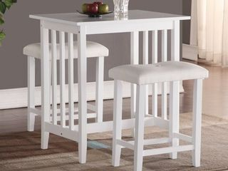 Roundhill Furniture 3 Piece Counter Height Dining Set with saddleback Stools  White