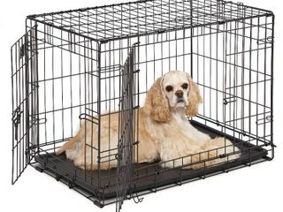 Midwest iCrate Double Door Folding Metal Dog Crate  30 Inches by 19 Inches by 21 Inches