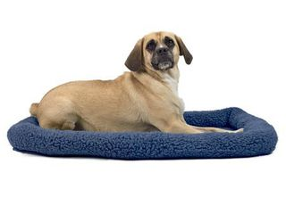 FurHaven Pet Kennel Pad Faux lambswool   Sherpa Bolster Pet Bed for Kennels   Crates  Blue  large