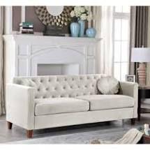 Carson Carrington idbacka ivory velvet couch