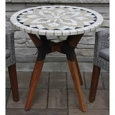 Islara 30 inch Marble Mosaics Bistro Table with Mixed Material Base by Havenside Home  Retail 212 49 eqcalyptus