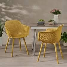 lotus Outdoor Modern Dining Chair  Set of 2  by Christopher Knight Home  Retail 159 99 yellow