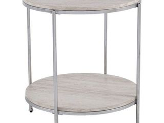 Silver Orchid Henderson Round Faux Stone End Table  Retail 122 99