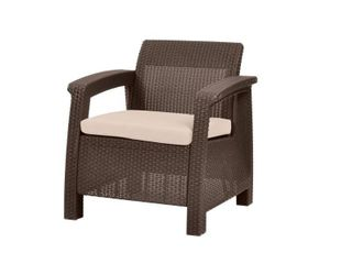Quintana Brown All Weather Outdoor Patio Armchair with Cushion by Havenside Home  Retail 94 99