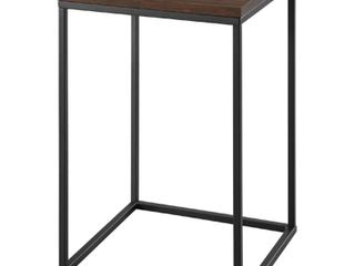 16  Metal and Wood Square Side Table   Dark Walnut