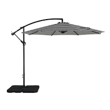 Weller 10 inch offset cantilever hanging umbrella gray and white stripe
