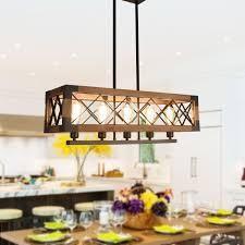 5 light Wood Kitchen Island light  Cage linear Kitchen island pendant Chandelier  Retail 274 49