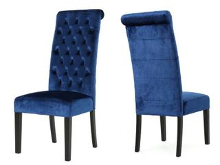 leorah Tall Back Tufted Velvet Dining Chair  Set of 2  by Christopher Knight Home  Retail 293 99