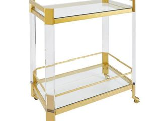 Huxley Acrylic and Gold Bar Cart with Glass Top  Retail 249 98