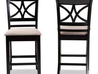 Baxton Studio Chandler Sand Upholstered Espresso Wood 2 Piece Pub Chairs