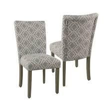 homepop parsons ash grey geometric dining chairs set of 2