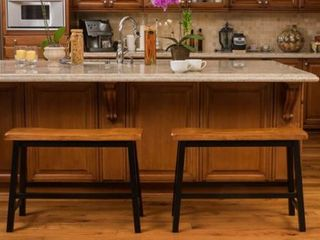 Christopher Knight Home Pomeroy Saddle Wood Counter Dining Bench  Set of 2  Retail 136 99