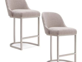 Barrelback Oatmeal linen Counter Stool with Pewter Metal Base Set of 2  Retail 265 99