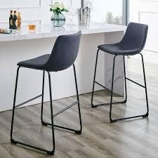 Carbon loft Prusiner Faux leather Counter Stool  Set of 2  Retail 167 99 stone grey