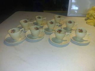 Nice 18 Piece Crown Ducal Miniature Winter Tea Set