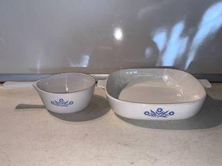 Corning Ware Blue Cornflower Casserole Dishes No lid location Shelf E