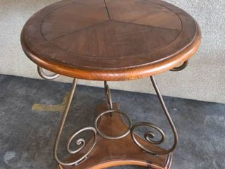 Round Wood Powell End Table location 1F Middle
