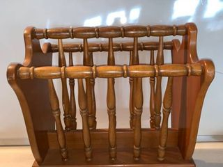 Vintage Wood Magazine Rack Authentic Furniture Products location Beside Shelf C
