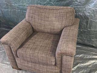 Grey Plaid Flexsteel Sofa Chair With Nail Head Trim location 1E Middle