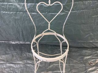 White Wrought Iron Heart Shaped Ice Cream Parlor Chair No Seat location 1F Middle