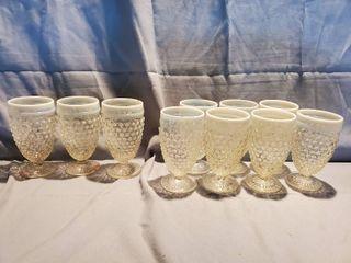 Fenton Clear to White Opalescent Hobnail Moonstone Glasses 10 Glasses