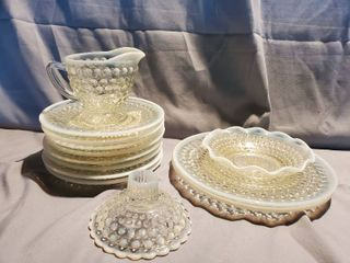 lot of Miscellaneous Fenton Clear to White Opalescent Hobnail Moonstone Glassware  Plates  Creamer Dish and Candle Stick