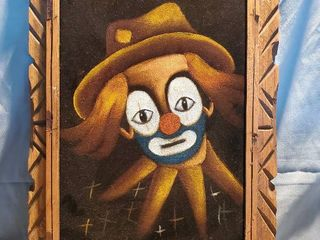 Exquisite Staring Clown on Velvet Canvas wwith Carved Wooden Frame
