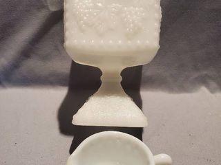 lot of 2 Milkglass Dishware  Grape Design Candy Dish and Creamer