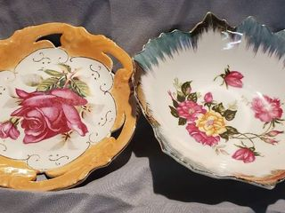 lot of 2 Beautiful Gilded Plates with Floral Design