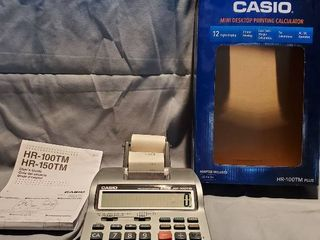 Casio Mini Desktop Printing Calculator  Tested and Working  with Manual and Power Cord