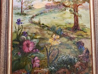 Colorful Oil Painting of Family Homestead by Marjorie Jefferson