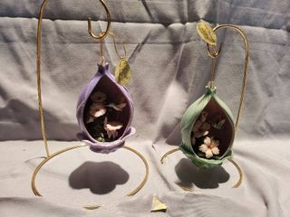 lot of 2 Heirloom Porcelain Garden Birds on Metal Wire Stand Hummingbird Collection