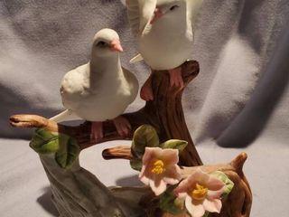 Fine Porcelain Doves on a Floral Branch Figurine