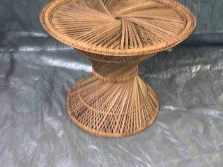 Vintage Round Wicker End Table location 1E