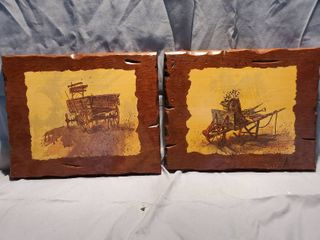 lot of 2 Wooden Prairie Style Wall Decor