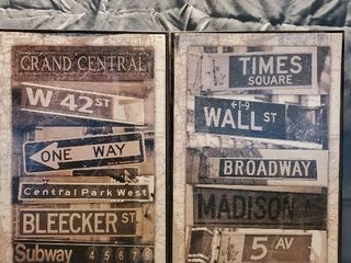 lot of 2 Black and White New York Street Sign Wall Decor