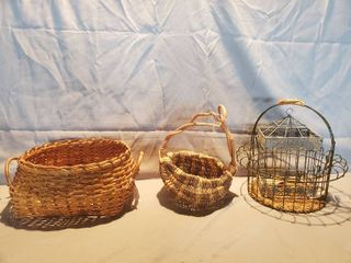 lot of 4   Wicker and Metal Decor  3 Baskets and 1 Birdcage