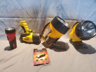 lot of 5 Hand Flashlight  2 Rayovac  1 Energizer  1 Stanley and 1 Mini lED  Batteries Sold Separately