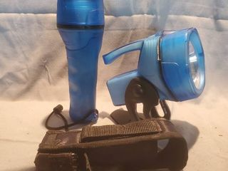 lot of 3 Flashlights  2 Dorcy Translucent Blue and 1 led Black lenser woth Pouch and Backup Batteries