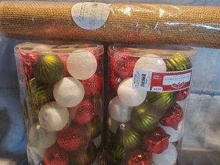 lot of 3  NIB Christmas Ornaments and 15 Feet of Paper Mesh